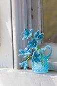 Chionodoxa Knitted Flowers in a Blue Pitcher