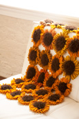 Throw of Knitted Sunflowers